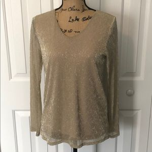 Chico's Gold Shimmery Sheer Blouse